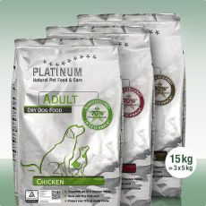 PLATINUM Natural TRIO MIX Adult Chicken + Lamb rice + Iberico + Zelenina 15 kg